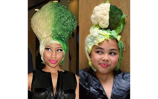 O penteado de Nicki Minaj foi reproduzido por Riley com o uso de brócolis e couve-flor