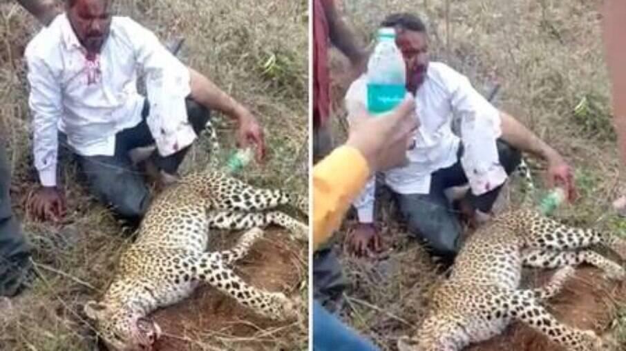 Homem sai ferido, mas consegue matar leopardo para salvar sua família