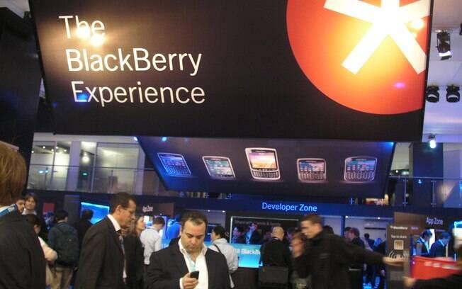 Estande da Research in Motion (RIM), fabricante do BlackBerry, no MWC traz poucas novidades