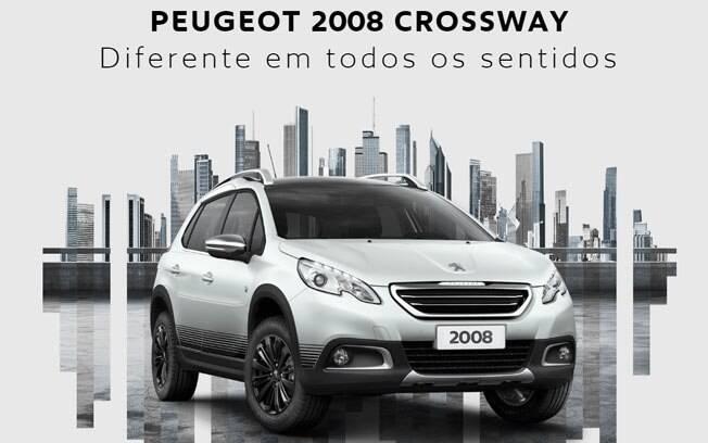 Série especial do Peugeot 2008, o Crossway vem com  barras no teto e moldura de plástico na lateral.