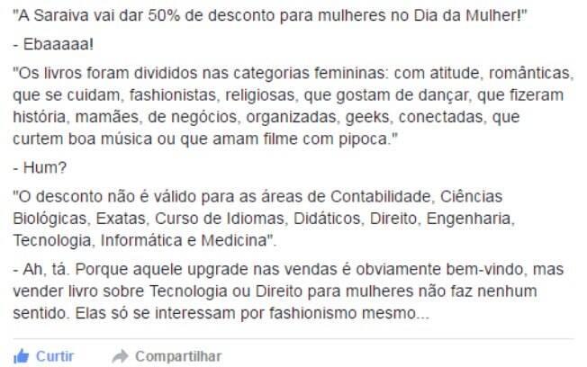 Leitores usaram a internet para opinarem acerca da promoção de Dia Internacional das Mulher da Saraiva