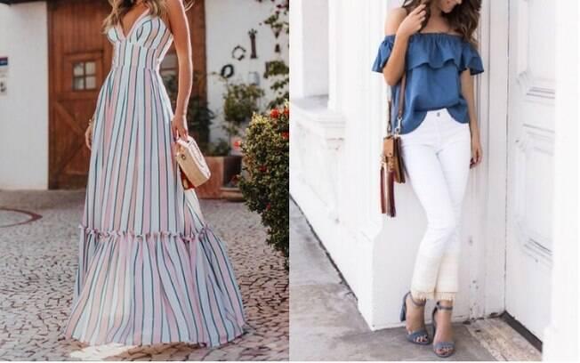 Na lista de roupas da moda que estão fazendo sucesso na Espanha estão os vestidos maxi (esq.) e as calças brancas (dir.)