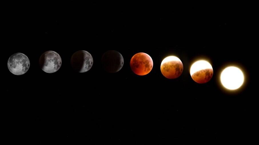 Eclipse lunar e super lua de sangue