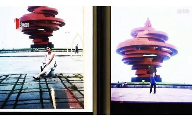 Ao fundo da foto de Xue é possível ver que Ye está em pé também posando para uma fotografia