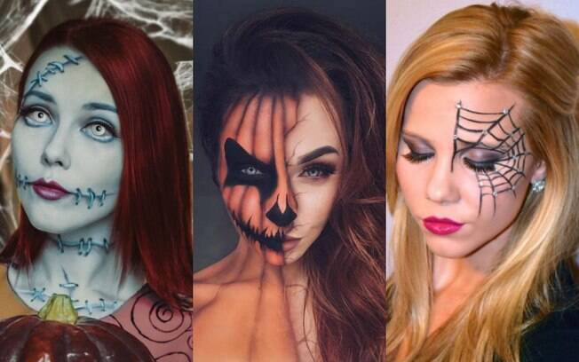 Ideias de fantasias para o Halloween: por que não apostar em makes 'assustadoras', como de Sally, abóbora ou teia?