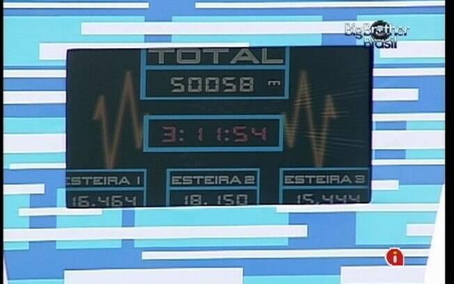 Placar mostra quilômetro percorrido e tempo de prova