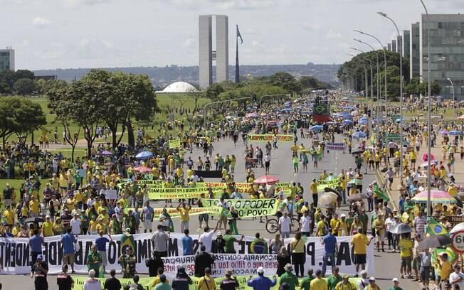 Brasília: como se viu no protesto de 15 de março, os manifestantes adoraram o verde e o amarelo
