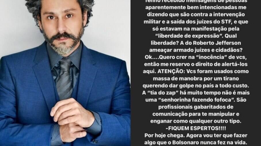 Alexandre Nero e seu stories no Instagram