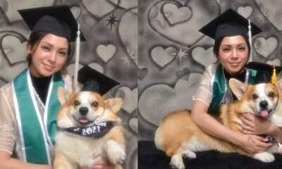 Jovem faz sessão de fotos com cachorro que a ajudou a se formar