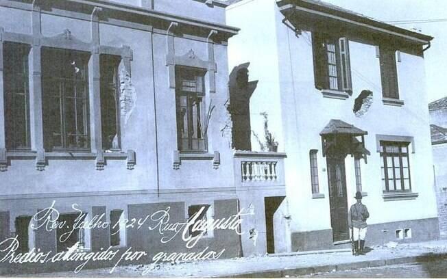Rua Augusta, prédios atingidos por granadas