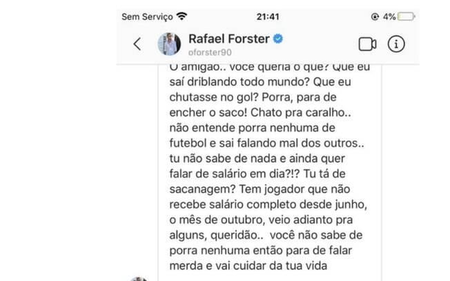 Conversa vazada do jogador do Botafogo