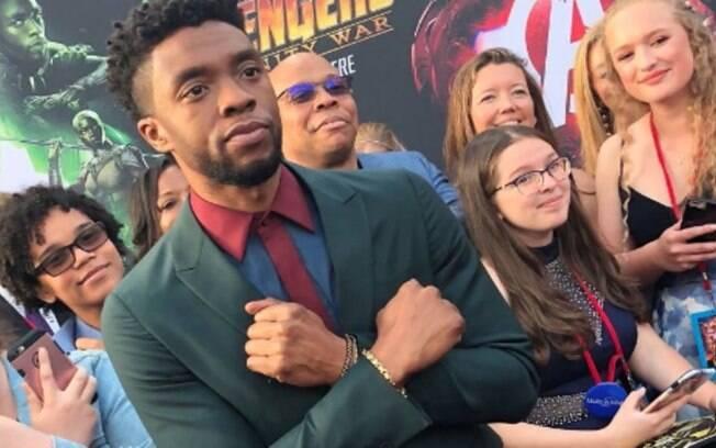 O protagonista Chadwick Boseman na premiere de