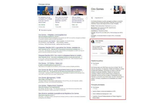 Propostas de candidatos: barra lateral do candidato Ciro Gomes (PDT)