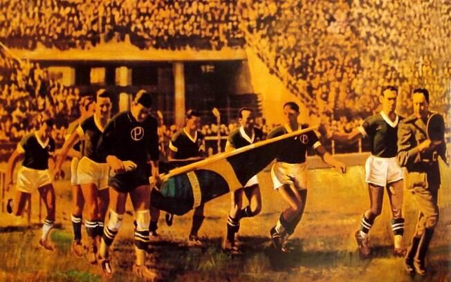 Jogadores do Palmeiras entraram em campo no Pacaembu com a bandeira do Brasil e evitou vaias na partida contra o São Paulo