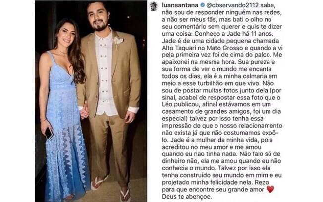 Luan Santana rebate comentário maldoso nas redes sociais