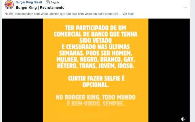 Burger King é atacado por apoiadores de Bolsonaro por campanha provocativa