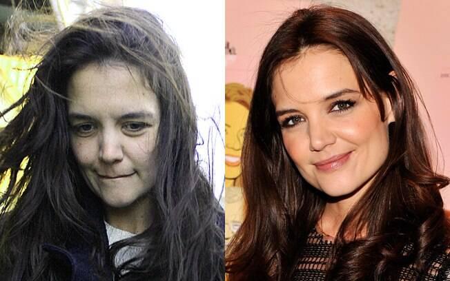 Antes e depois: Katie Holmes surpreende ao circular sem maquiagem