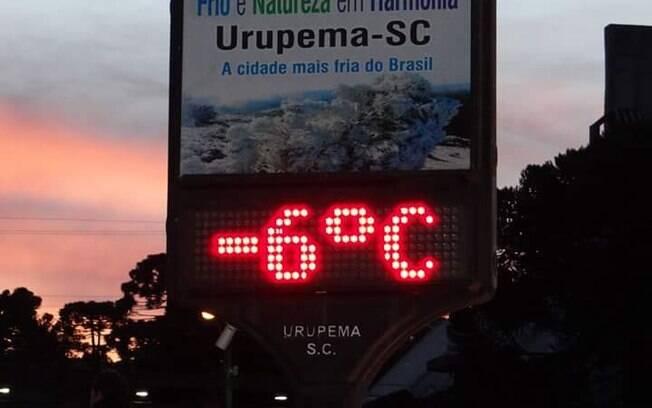 Sensação térmica na cidade chegou a -22°C. Foto: Marília Sutil/Prefeitura de Urupema - 10.06.2016