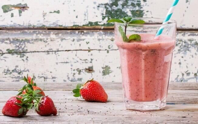 Para fechar as receitas com chia, um smoothie fonte de antioxidantes