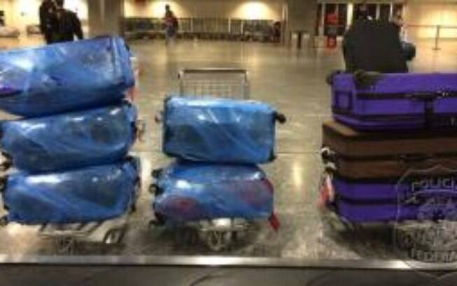 A mercadoria irregular chegou em oito malas