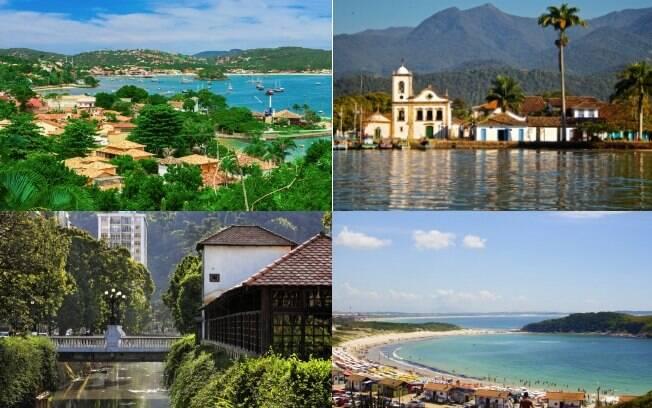Búzios (esq. cima), Paraty (dir. cima), Petrópolis (esq. baixo) e Cabo Frio (dir. baixo) são outros destinos promissores para aproveitar o final de 2018 ou o início de 2019 com a família no Rio de Janeiro, seja na praia ou visitando monumentos