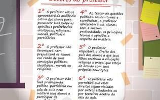 Escola sem Partido pode ser votado hoje; veja cartaz proposto para sala de aula
