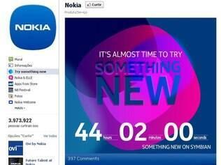 Banner na página oficial da Nokia no Facebook