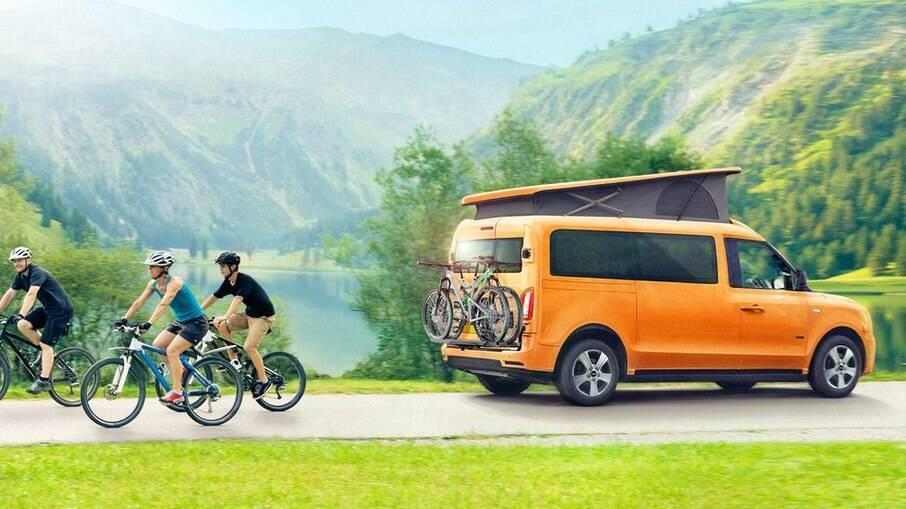 O VN5 e-Camper terá uma autonomia de 490 km com a ajuda do motor a gasolina que atua como gerador