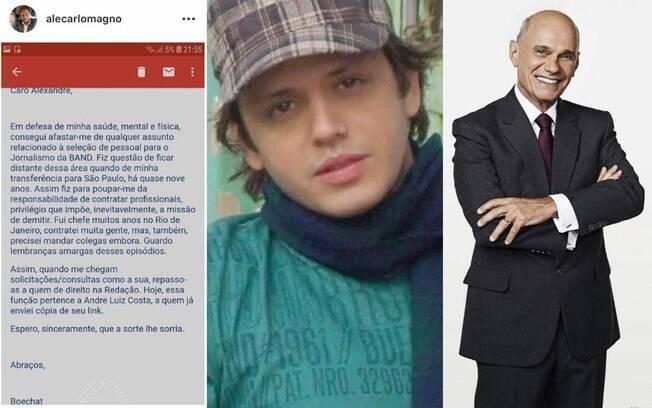 No Instagram, Alê Carlomagno posta e-mail escrito por Ricardo Boechat