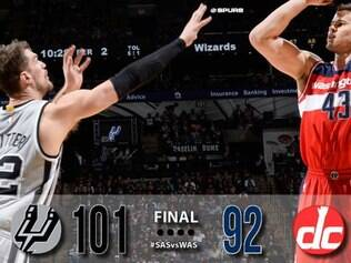 Spurs contou com o brasileiro Tiago Splitter na vitória contra o Wizards