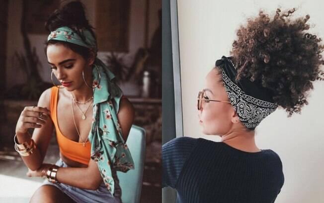 Os lenços são ótimos acessórios para usar no cabelo e até de outras formas, como no cós da calça, e a moda está bombando