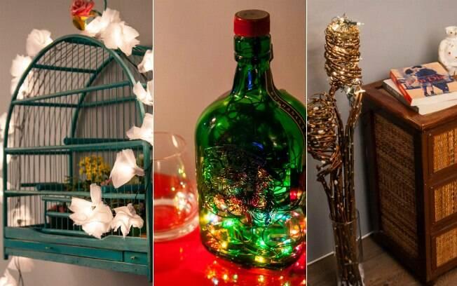 Veja como usar o tradicional cordão de luzes natalino para criar charmosas luminárias