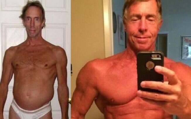 Doug Graham em 2005 e, muita fisicultura depois, em selfie do dia 27 de julho passado