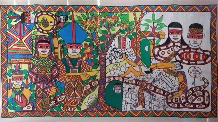 Mito de surgimento da bebida Nixe Pae Huni Kuin, obra do coletivo de artistas Huni Kuin que pode ser vista na página do Instituto Moreira Salles