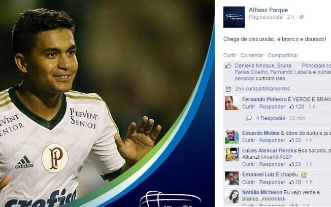 Perfil do Allianz Parque também entrou na brincadeira e publicou a foto de Dudu vestindo a camisa 2 - branca e dourada