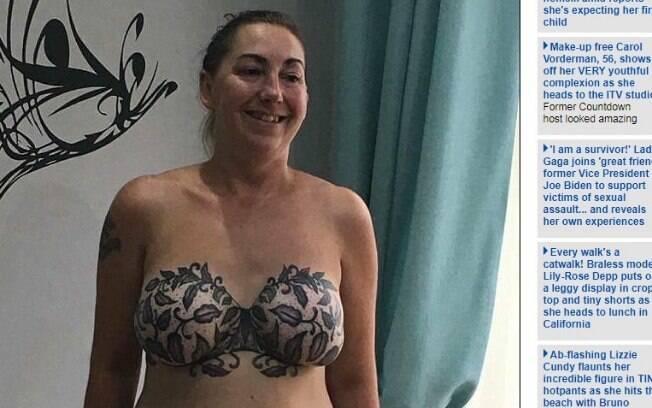 Michelle Cole fez tatuagem em seus seios após se curar do câncer de mama