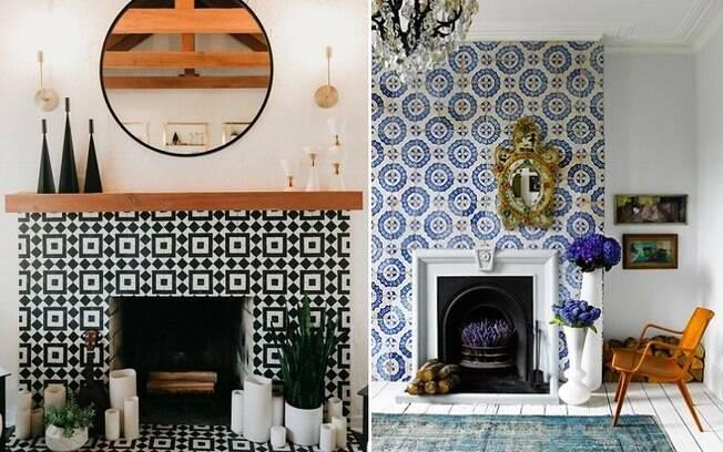O papel de parede também é uma ótima alternativa para revestir lareiras e dar a elas um ar mais alegre