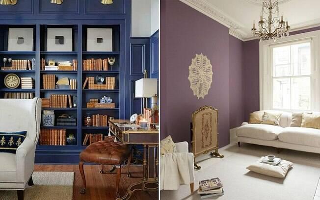 Tons mais escuros de azul e roxo, segundo a especialista, dão um ar de mistério e sofisticação ao cômodo