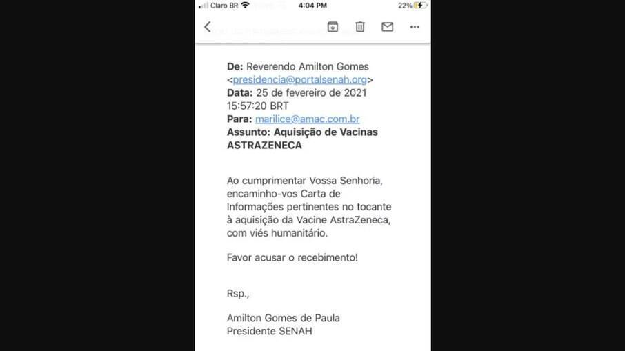 Troca de e-mails de reverendo Amilton