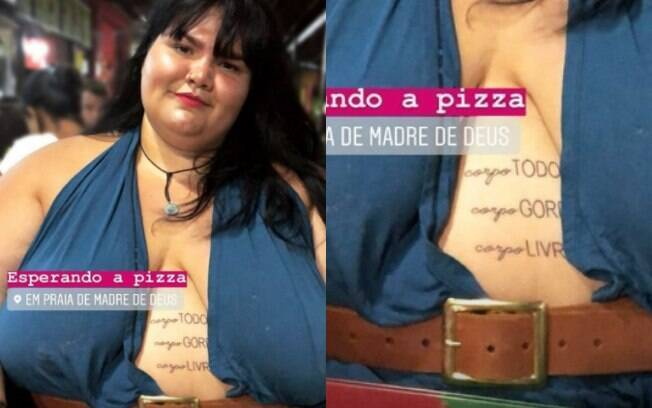 """Tatuagem de Thais Carla diz """"corpo TODO, corpo GORDO, corpo LIVRE"""" e é sobre o amor próprio e contra a gordofobia"""