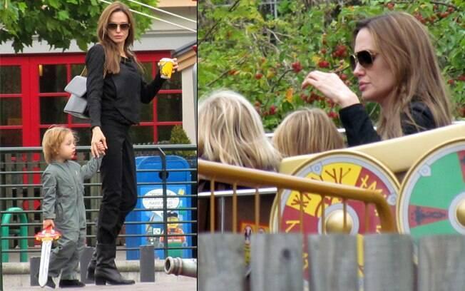 Angelina Jolie: faz bico até na hora da brincadeira
