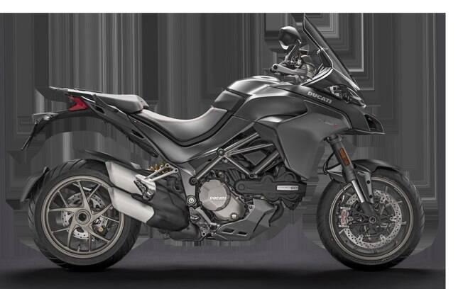 Ducati Multistrada 1260 S, na cor cinza, confere ares mais discretos à bigtrail ante o vermelho tradicional da marca