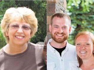 A missionária Nancy Writebol e o médico Kent Brantly, que está ao lado de sua mulher, Amber