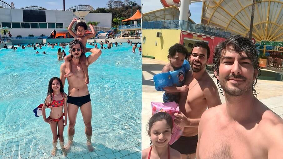 Paulo Tardivo, de óculos escuros, se diverte com os filhos, Sara e Davi, e o marido, Tiago, no Wet'n'Wild