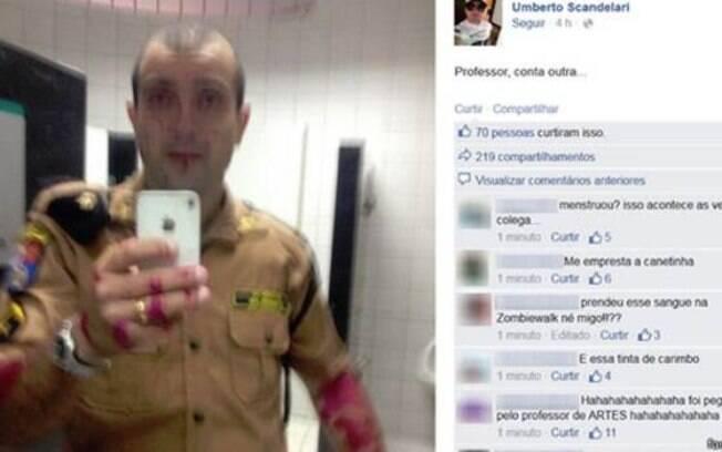 Suposto 'sangue' na foto publicada por PM é 'tinta', afirma corporação