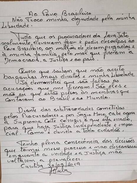 Carta manuscrita de Lula recusando transferência para o regime semiaberto