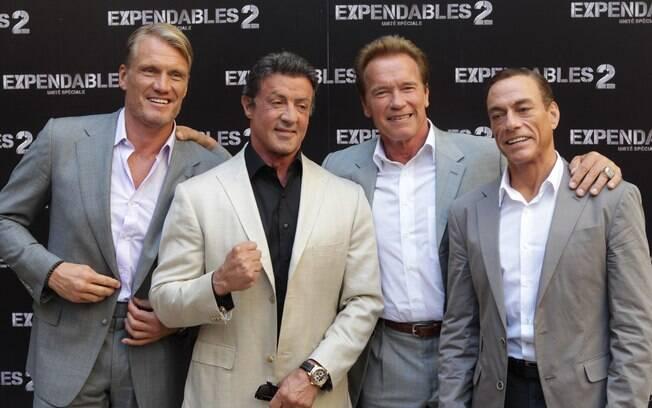 Dolph Lundgren, Sylvester Stallone, Arnold Schwarzenegger e Jean-Claude Van Damme