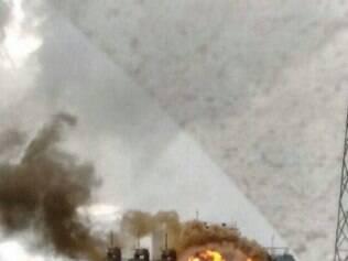Torre de siderúrgica pega fogo em Ouro Branco