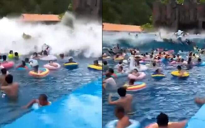 Onda gigante em piscina deixou 44 pessoas feridas em parque aquático da China