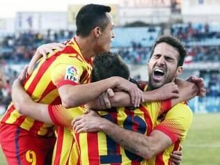 Barcelona entrou em campo neste domingo sem alguns dos seus principais jogadores: Lionel Messi, Xavi Hernández, Neymar e Victor Valdés